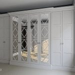 bespoke, fitted, luxury, wardrobe, panneled Eton, door design, mirrored door, Winchester design, channel columns, Surrey, UK, London