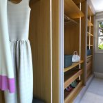 bespoke, walk-in, fitted, luxury wardrobe, no door, open concept, dbl channel columns, solid wood drawers, London, UK, internal led lighting