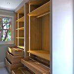 bespoke, walk in, fitted, luxury wardrobe, no door, open concept, dbl channel columns, solid wood drawers, shoe trays, London-UK
