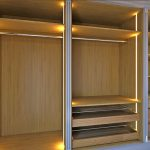 bespoke walk-in, fitted, luxury wardrobe, no door, open concept, dbl channel columns, solid wood drawers, shoe trays, London, UK, internal led lighting, Wall configuration